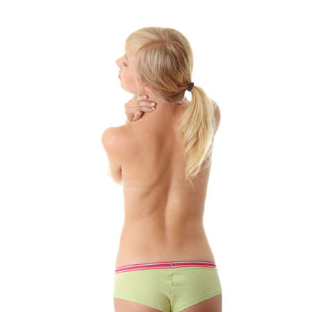 Back pain concept (neck pain) isoalted on white Stock Photo - 8048308