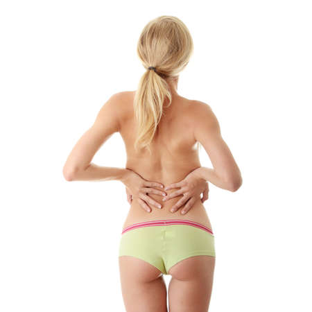 back light: Back pain concept isoalted on white Stock Photo