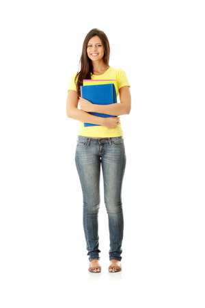 full length woman: Happy student girl, isolated on white Stock Photo
