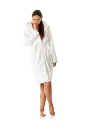 Young beautiful caucasian woman after bath full portrait isolated on white  photo
