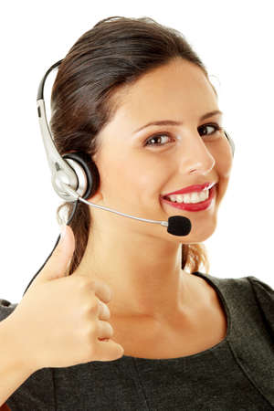Call center woman with headset. Stock Photo - 8048445