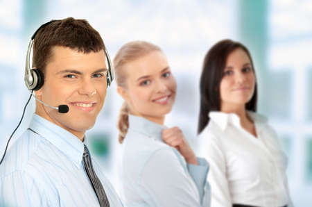personal service: Charming customer service representative with headset on