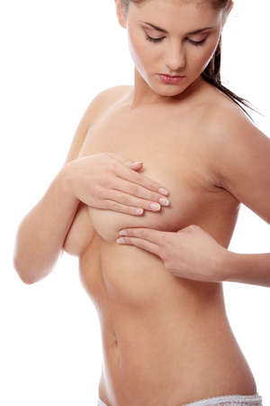 Breast cancer - Woman holding her breast Stock Photo - 8719897