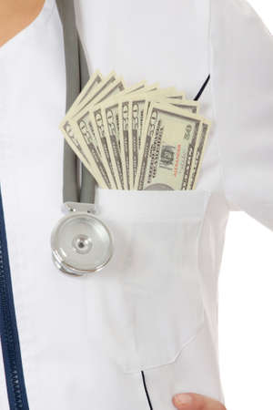 doctor giving dollars: Female doctor with money. Corruption concept