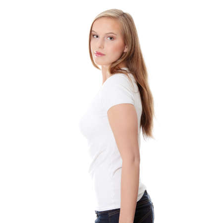 Teen girl isoalated on white background  photo