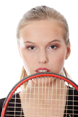 Teen tennis player, isolated on white photo