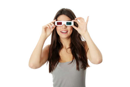 Young beautiful woman with 3d glasses, isolated on white