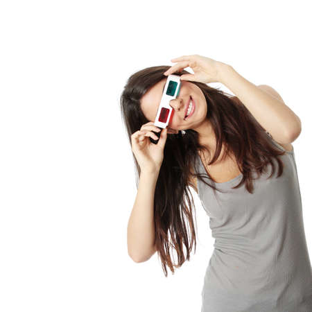 dark glasses: Young beautiful woman with 3d glasses, isolated on white