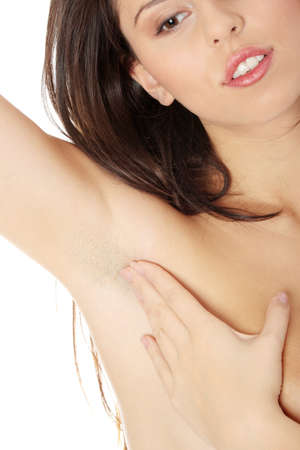 armpit: Axila la mujer, aislada en blanco