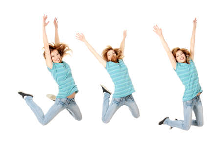 Jumping happy teen girl, isolated on white background Stock Photo - 8825591