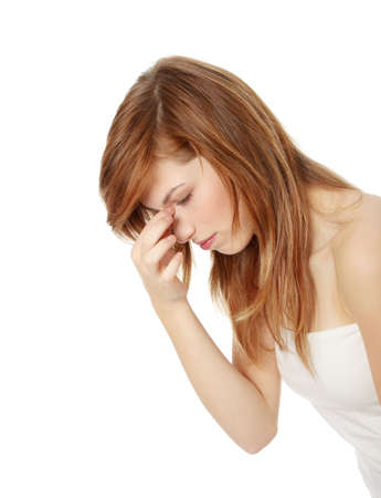 Young teen woman with sinus pressure pain photo