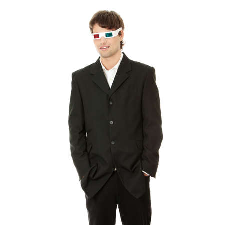 Young handsome man in 3d glasses, isolated on white photo