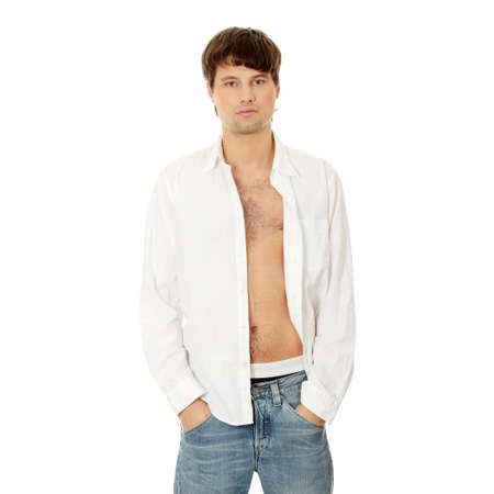 The young sexy man,isolated on white photo