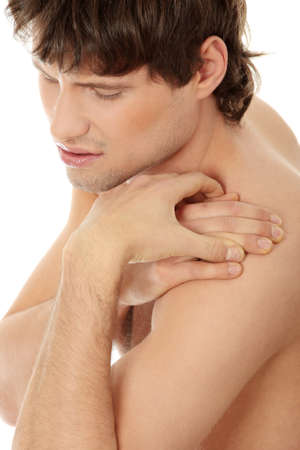 Back pain concept. Isolated on white background  photo