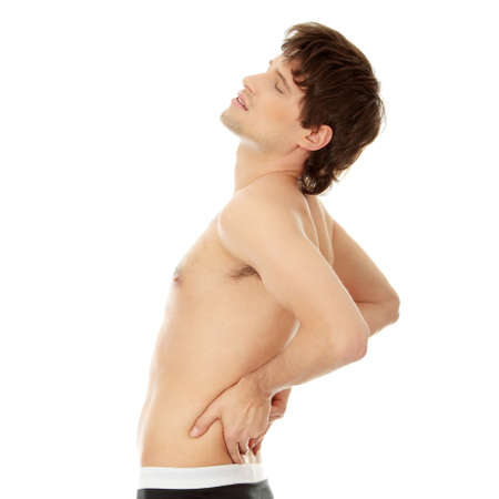 ouch: Back pain concept. Isolated on white background