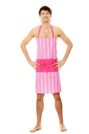 Naked man wearing pink apron. Isolated on white. photo