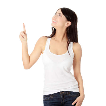 woman pointing: Young beautiful happy caucasian woman pointing up ,isolated on white Stock Photo