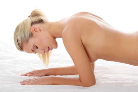 Sexy blond caucasian woman on bed Stock Photo - 8829291