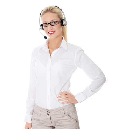 Young business woman with headset Stock Photo - 8826470