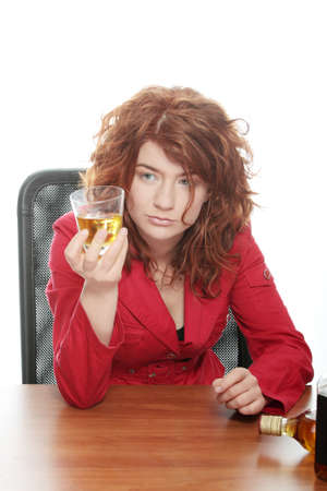 Young woman addicted to alcohol, isolated on white photo