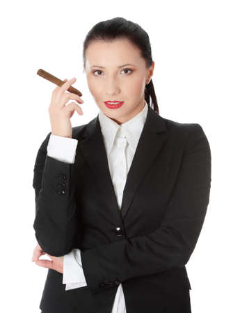 feminism: Businesswoman (boss) with cigar (feminism concept)