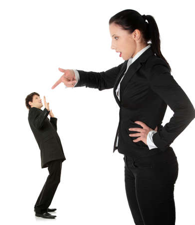 business disagreement: Businesswoman shouting on man, isolated on white background  Stock Photo