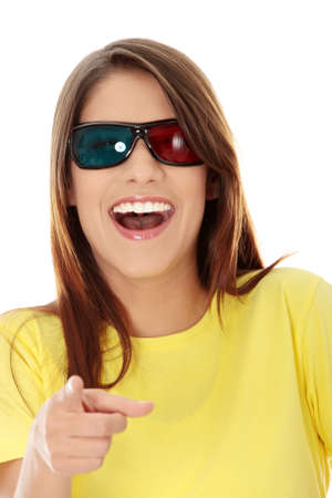Beautiful young woman in 3d cinema glasses isolated on white background Stock Photo - 8828339