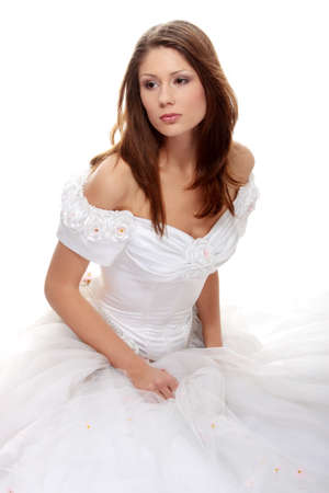 Young beautiful caucasian bride over white background Stock Photo - 8827964