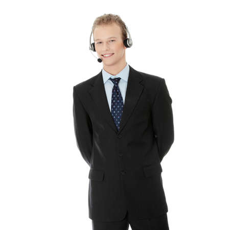 Charming customer service representative with headset on isolated on white background Stock Photo - 8958832