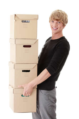 Man with stacked Boxes,isolated on white Stock Photo - 8970253