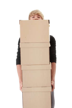 Man with stacked Boxes,isolated on white  photo