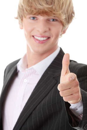 Happy young businessman pointing at you with smile Stock Photo - 8959004
