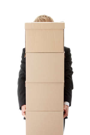 Businessman with stacked Boxes,isolated on white  Stock Photo - 8957612
