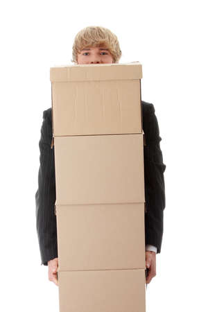 Businessman with stacked Boxes,isolated on white Stock Photo - 8958459