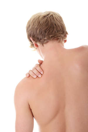 Back pain concept. Isolated on white bckground Stock Photo - 8960227
