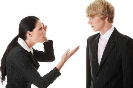 Work Colleagues arguing (woman shouting on man), isolated on white background  photo