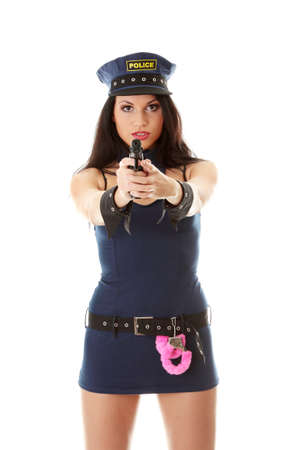 Beautiful sexy police girl with handgun and handcuffs, isolated on white background Stock Photo - 8958466