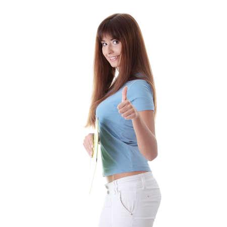 Teen girl gesturing OK, isoalated on white background