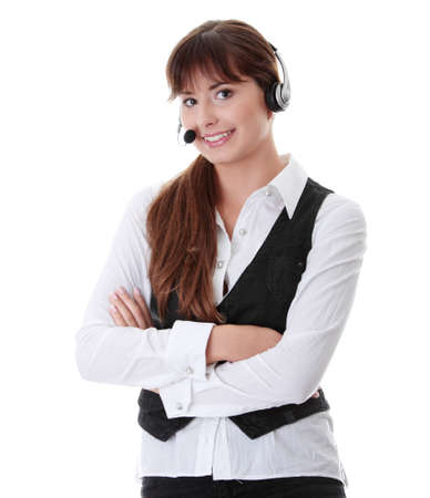 Call center woman with headset. Stock Photo - 8958266