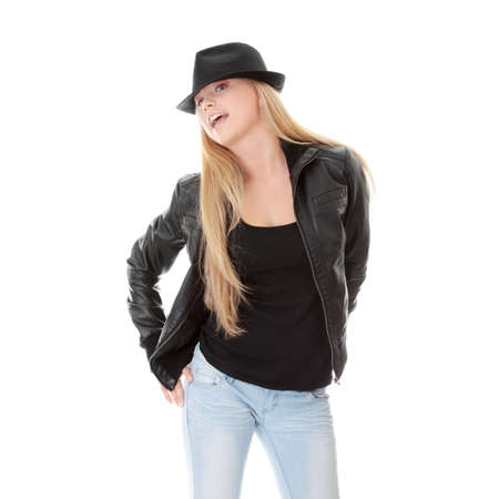house coat: Young female dancer in black hat, isolated on white background Stock Photo