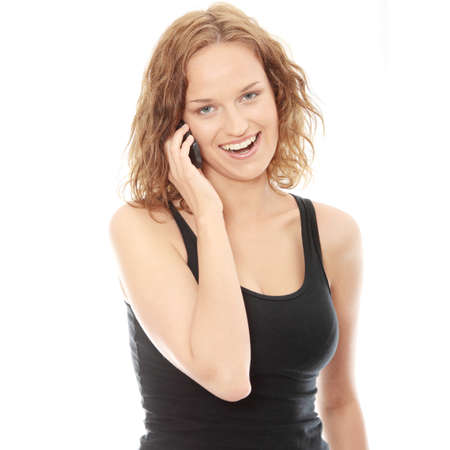 Young caucasian woman is calling with a mobile phone isolated photo