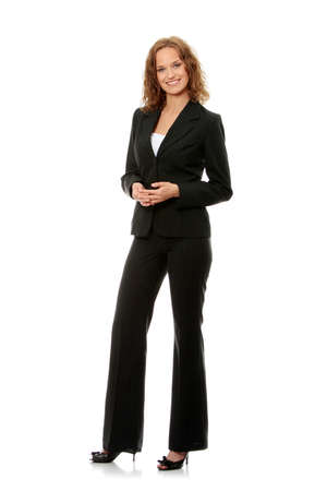 woman full body: Young happy businesswoman, isolated on white
