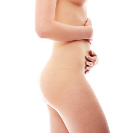 naked belly: Close up photo of body of young fit female, isolated on white