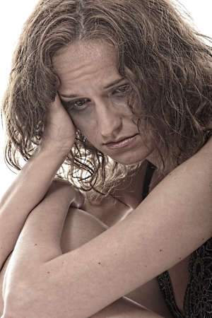 Abused young woman dramatic portrait Stock Photo - 9023739