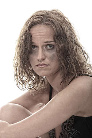 beat women: Abused young woman dramatic portrait Stock Photo
