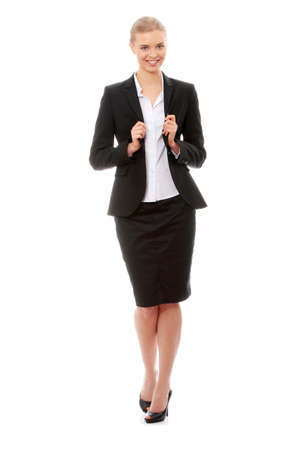 Portrait of beautiful caucasian business woman in black suit, isolated on white background photo
