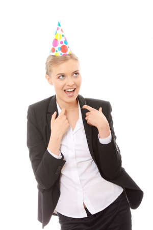 cotillons: Young happy woman in business suit wearing party favors  Banque d'images