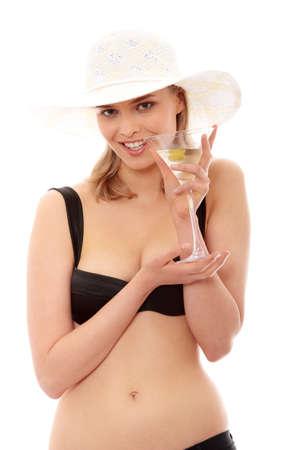 hottie: Summer girl drinking martini, isolated on white