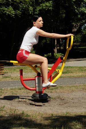 Young caucasian woman exercising outdoor Stock Photo - 9023588