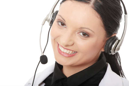 Call center woman with headset Stock Photo - 24505351